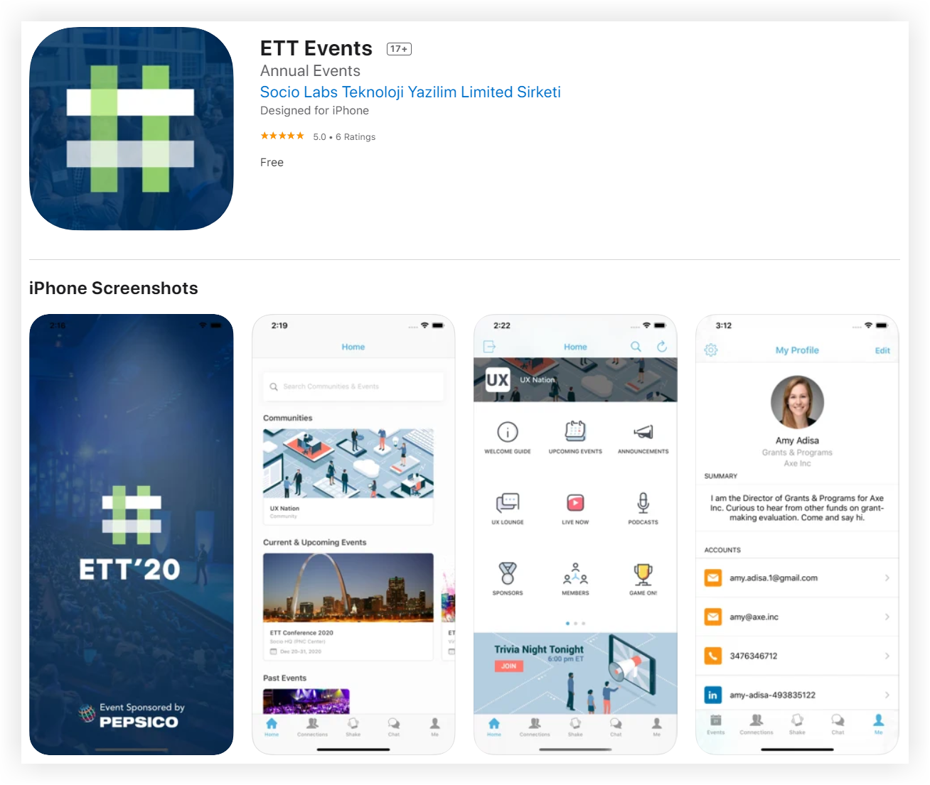 Screenshot showing the App Store page for the ETT Events app.