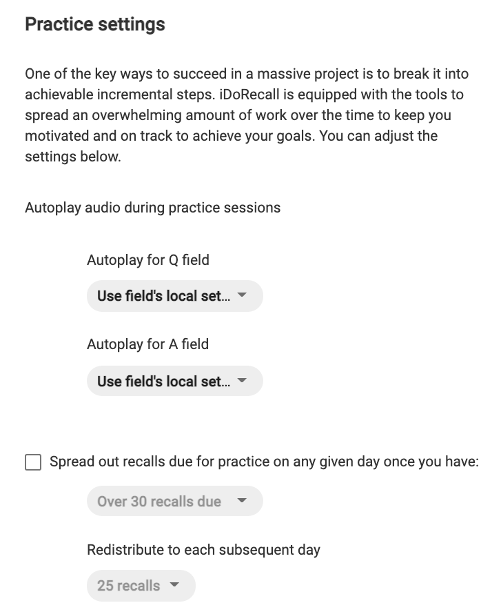 The Practice setting portion of the settings page.