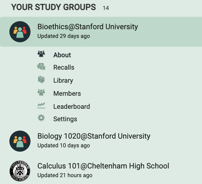 An example of a list of a user's groups
