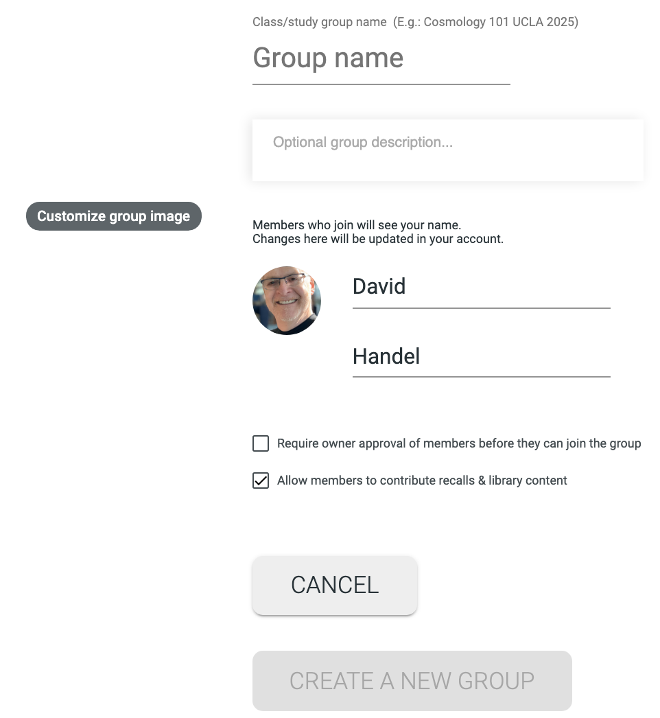 The create new group form.