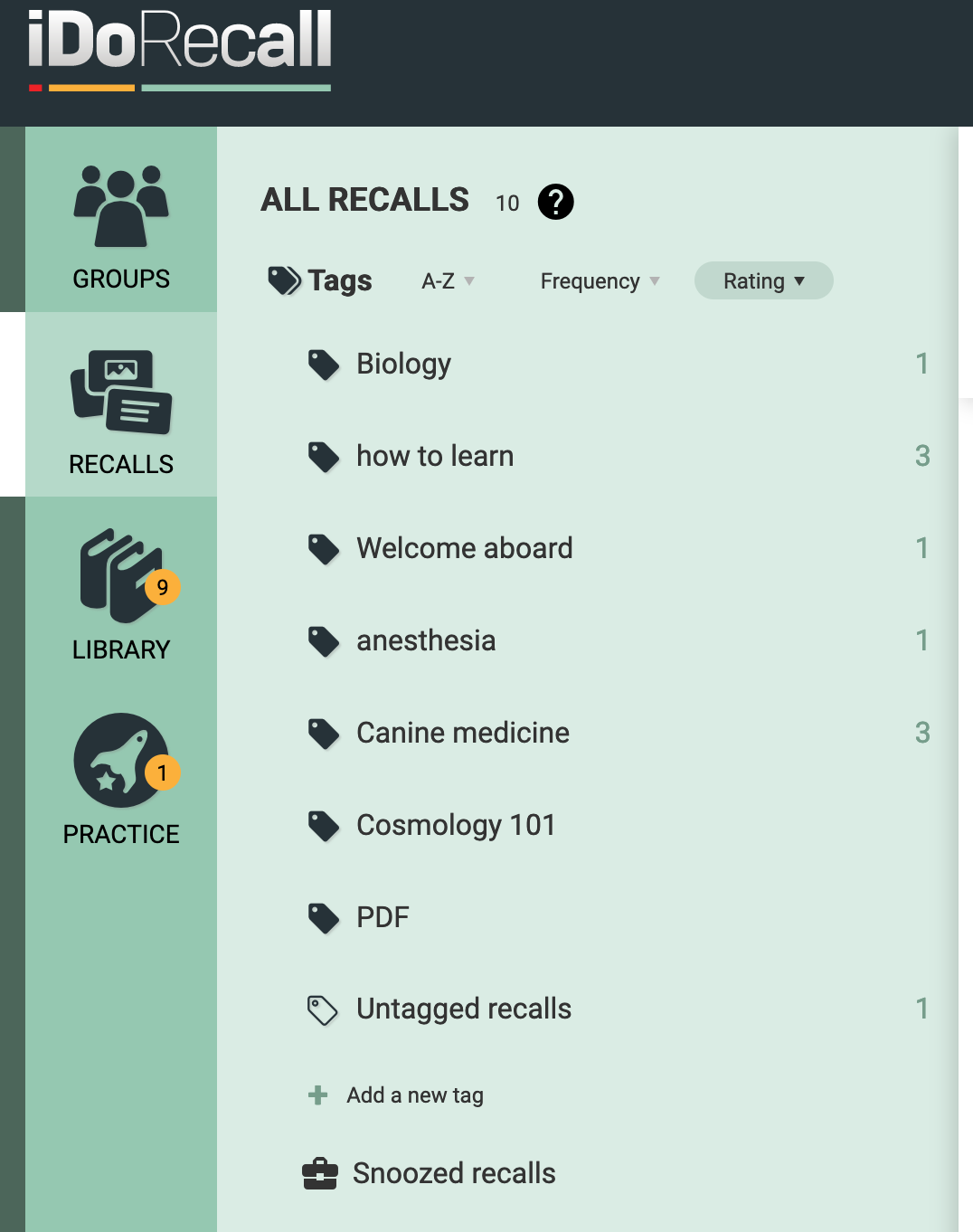 The Tags PAnel in the RECALLS section.