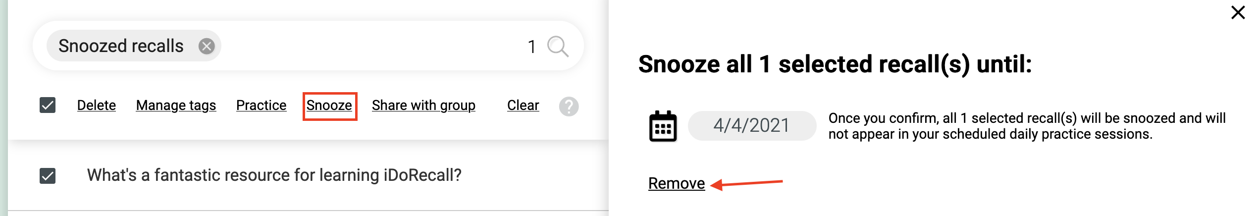 DEmonstration of how to remove snoozing.