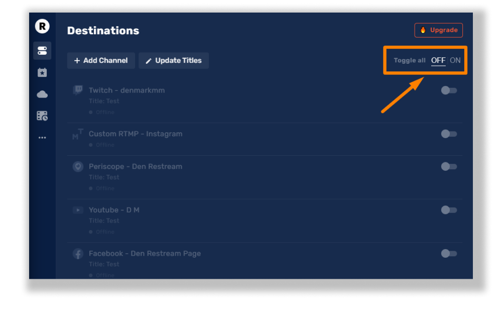 Disable your channels on the Restream dashboard
