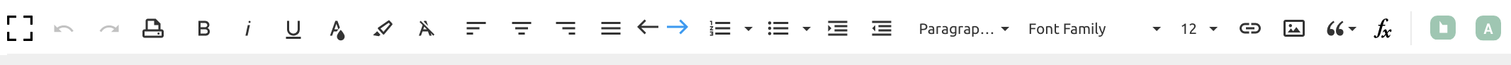 The Notes toolbar.