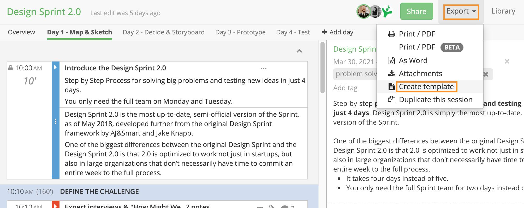 Create template - community
