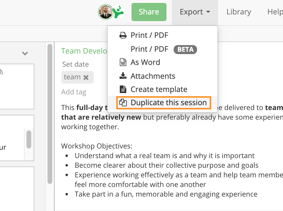 Duplicate session from session planner