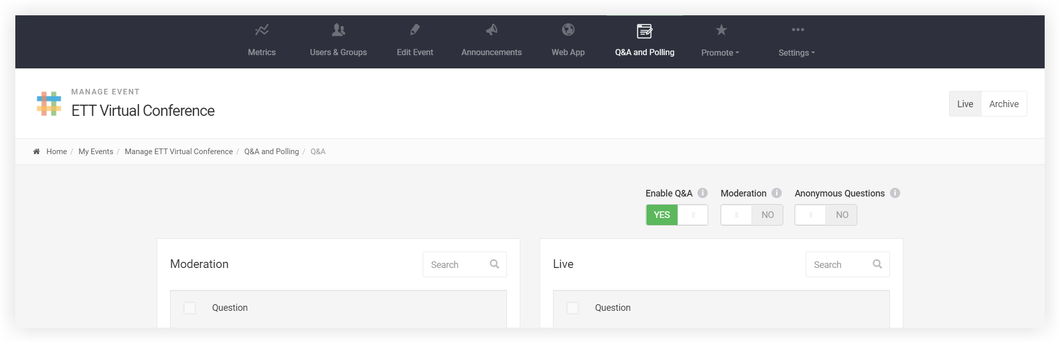 Screenshot of the Q&A and Polling page.