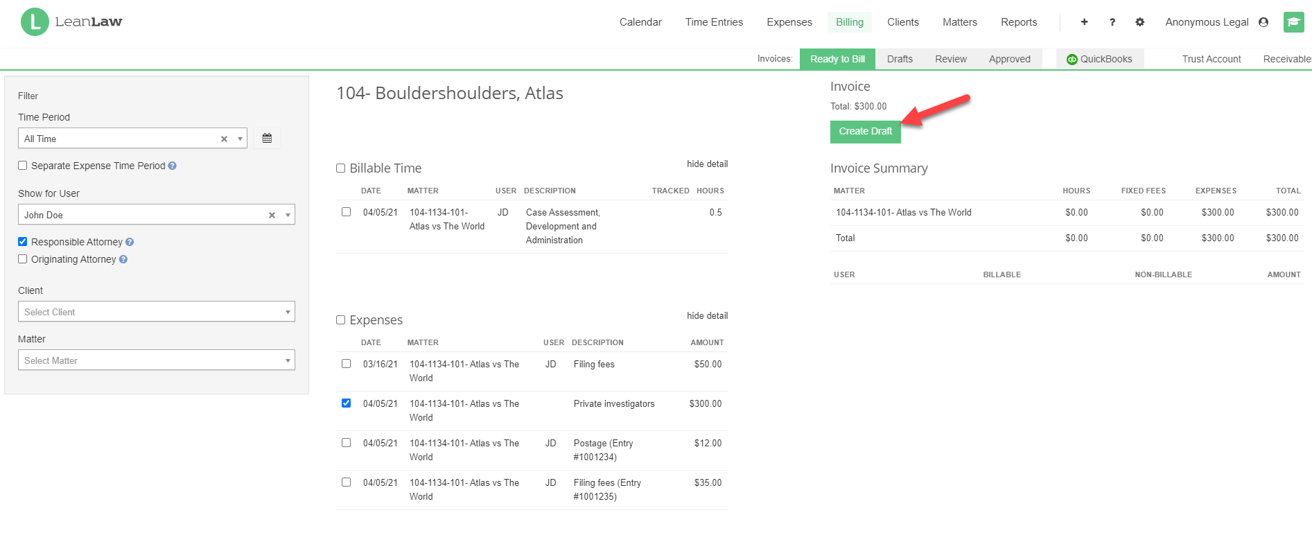 An image of the Invoice Builder interface with the Create Draft button indicated