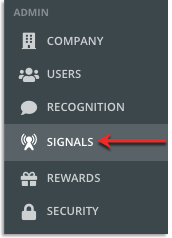 Signals section in the admin navigation tools fourth from the top.