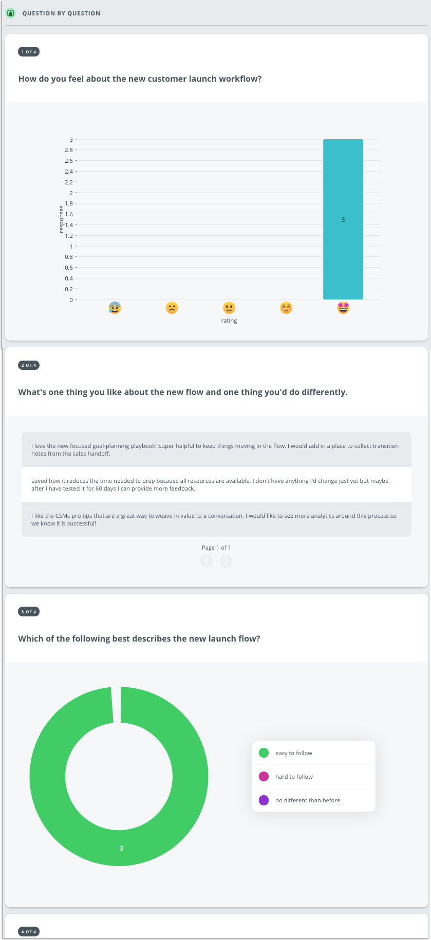 A question by question breakdown is shown for a example survey results page, showing results for emoji scale, text response, and numeric scale questions.