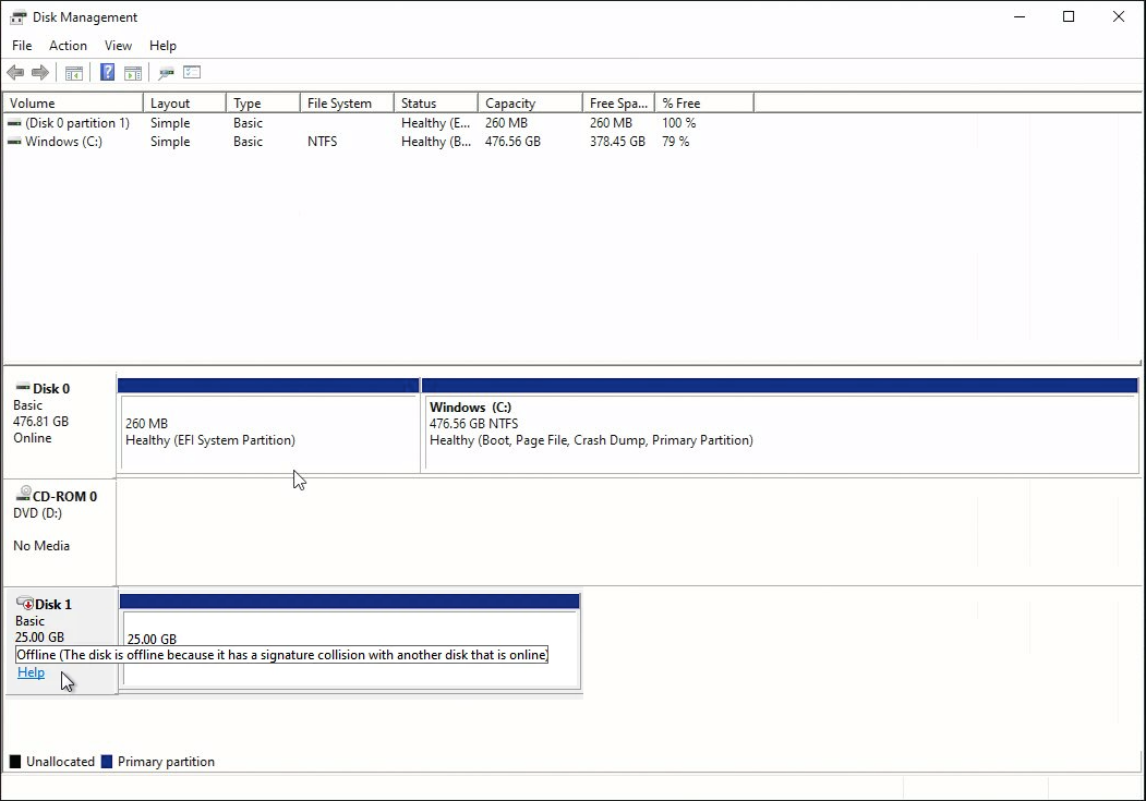 Disk Management Snap-In showing a disk that is offline due to a signature collision