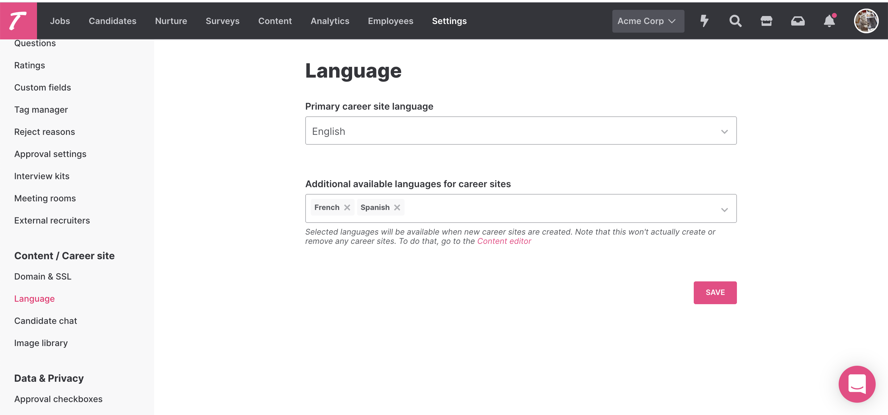 Settings view where you can add additional languages