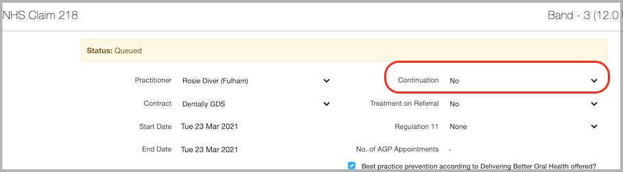 Dentally Continuation of Treatment on Claim