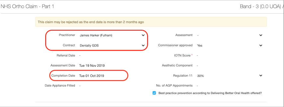 Dentally NHS submission screen showing the Contract and completion date of treatment