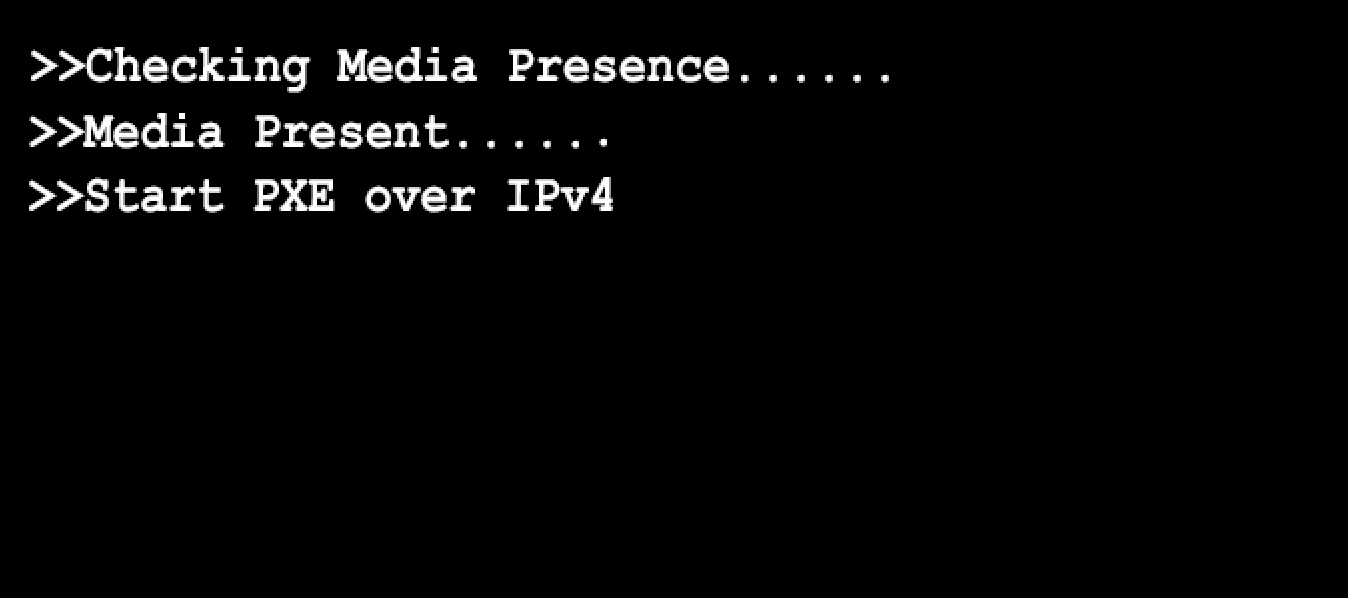Checking Media Presence  Media Present  Start PXE over IPv4