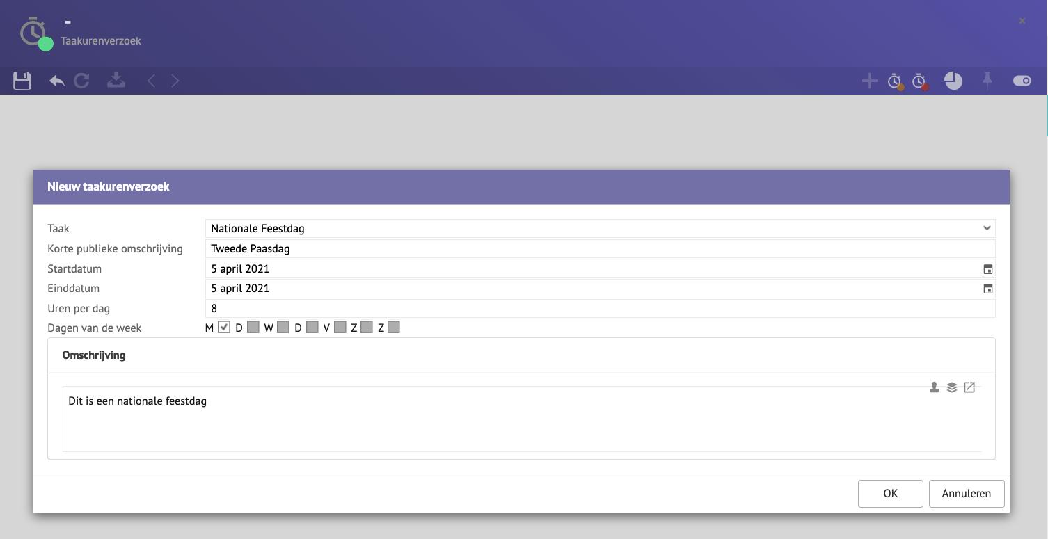 Screenshot van een nieuwe taakurenverzoek.