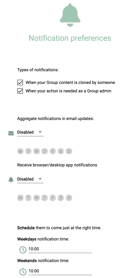 Notifications preferences.