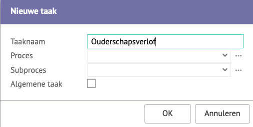 Screenshot van het ''nieuwe taak'' venster