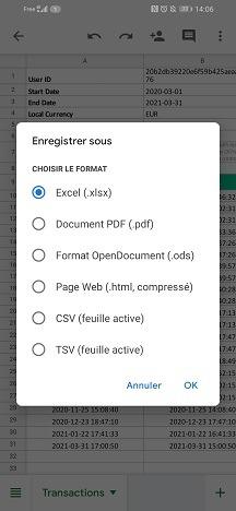 Choisisser le format Excel.xlsx