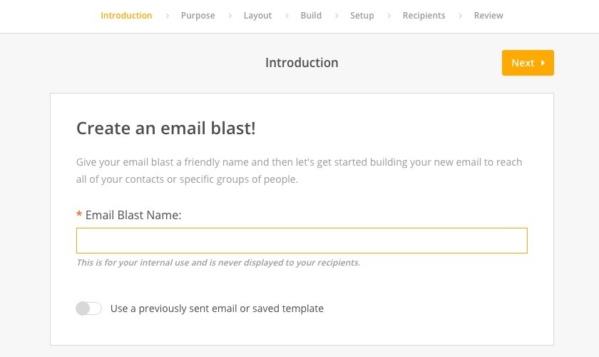 Sending Email Blasts Network For Good Knowledge Base - How to create an email blast template