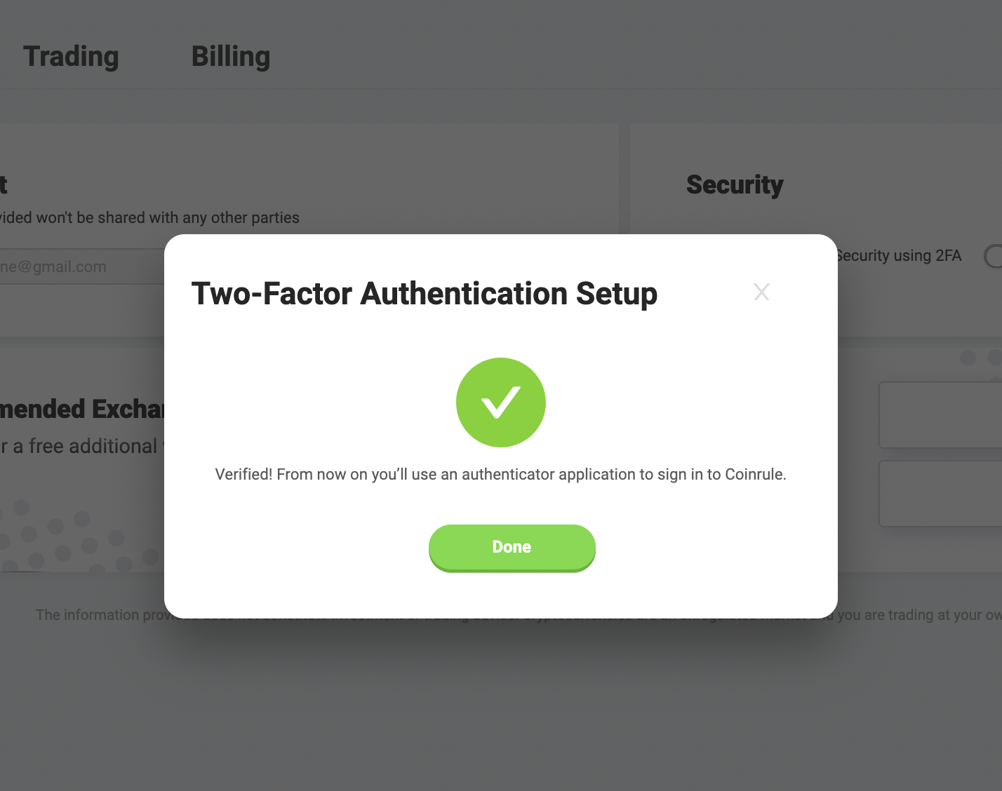 two-factor authenticator enabled
