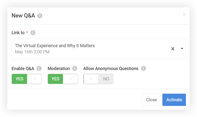 Screenshot of the New Q and A modal.