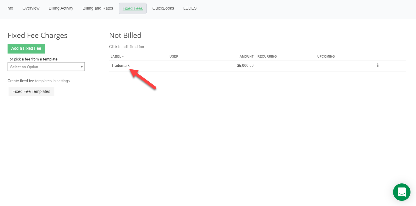 A screenshot of the Fixed Fees tab with one fixed fee indicated