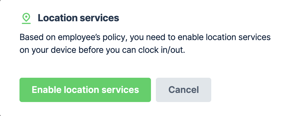 Enable location services message