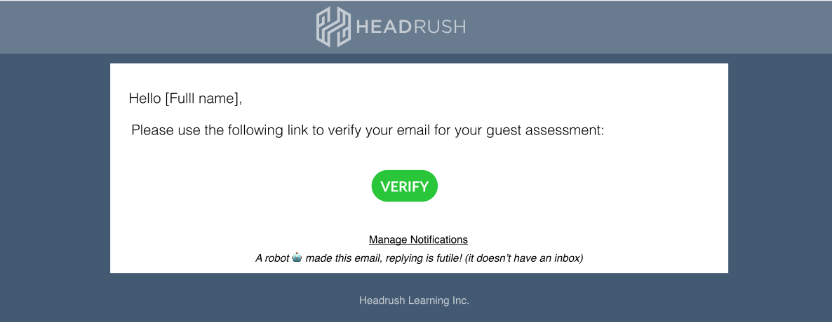 Guest Assessor Email Verification Email