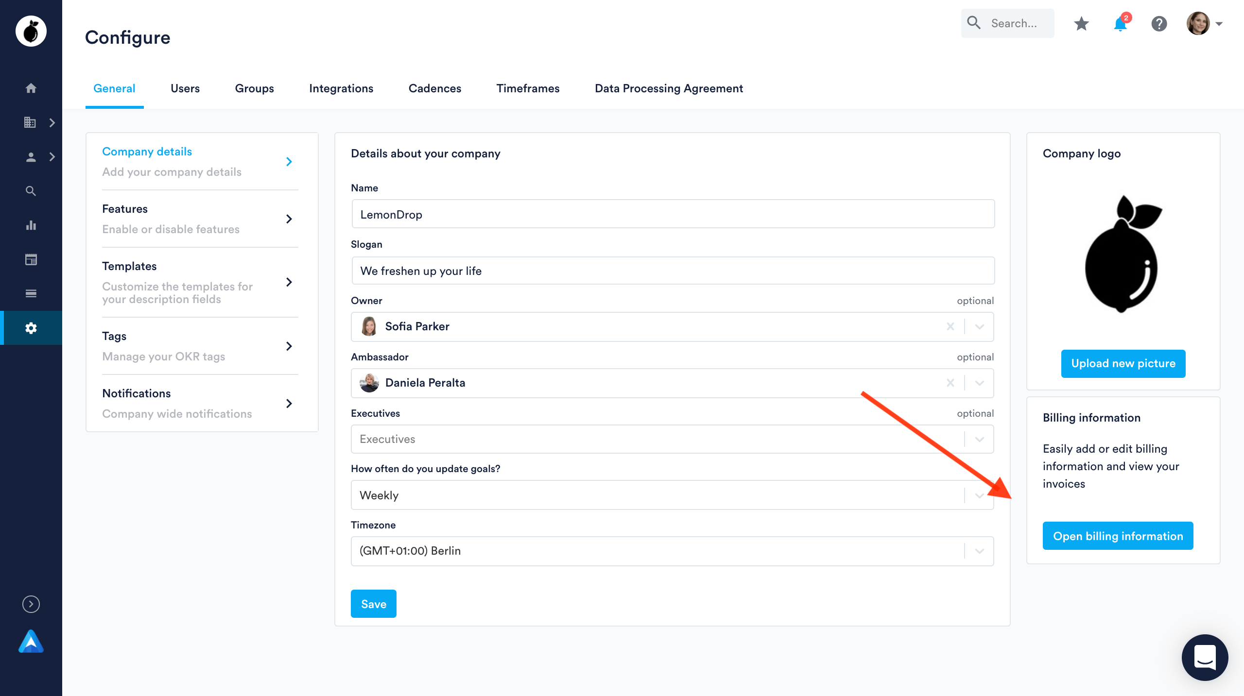 Configure page to Open billing information