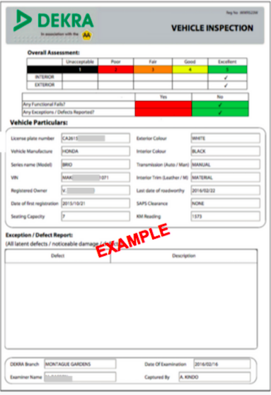 What are the vehicle and document requirements taxify for Nearest motor vehicle inspection station