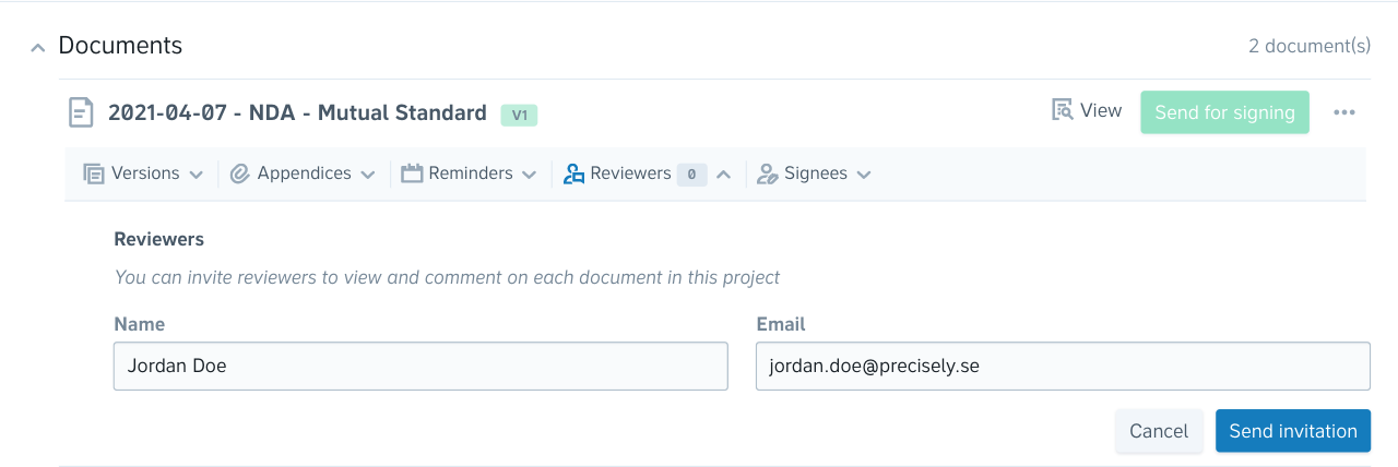 An image showing where you can invite reviewers in your projects