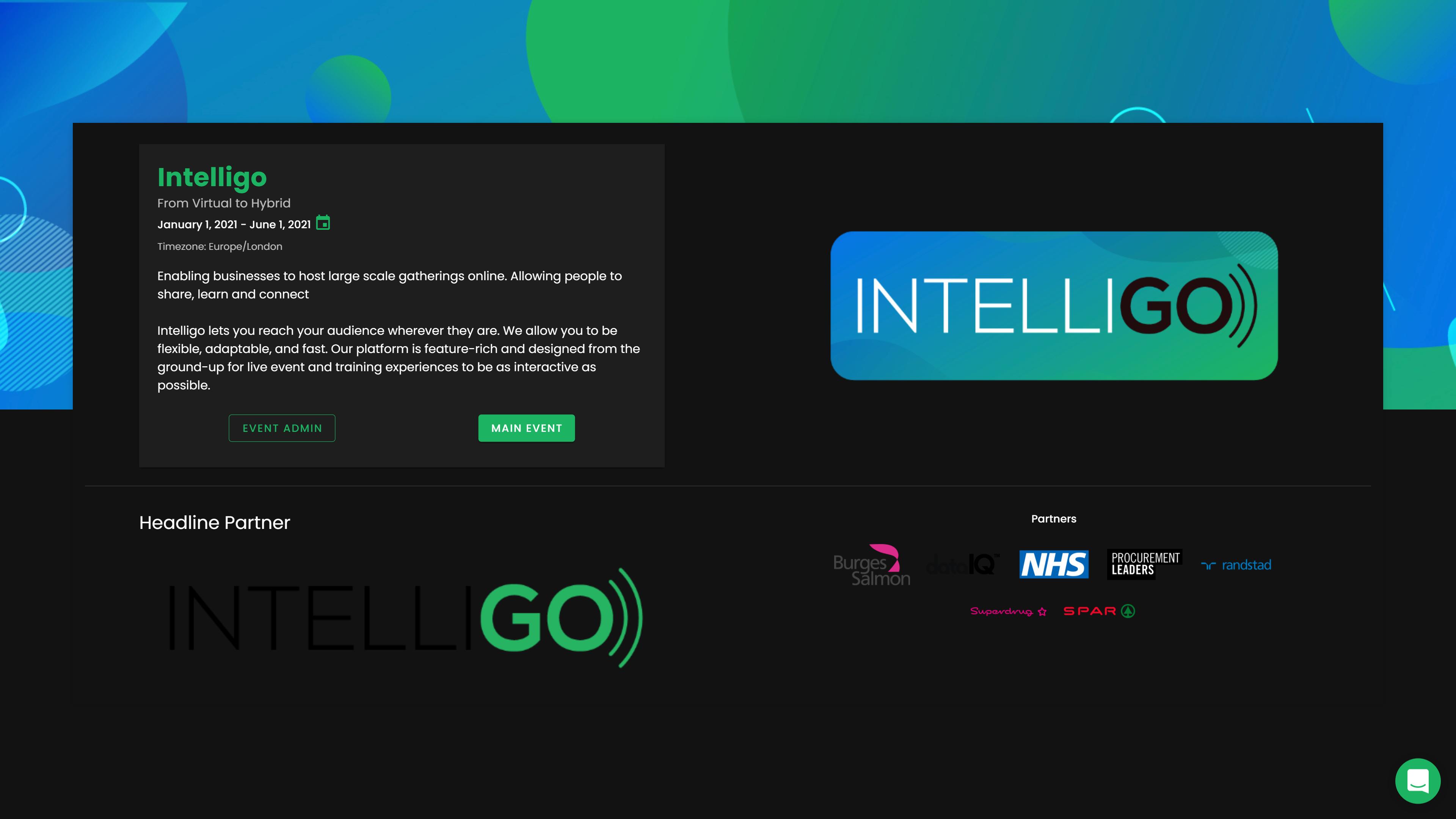 Intelligo Virtual Event Hybrid Event Platform Dark Mode