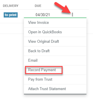 A screenshot of the three vertical dots with Record Payment indicated