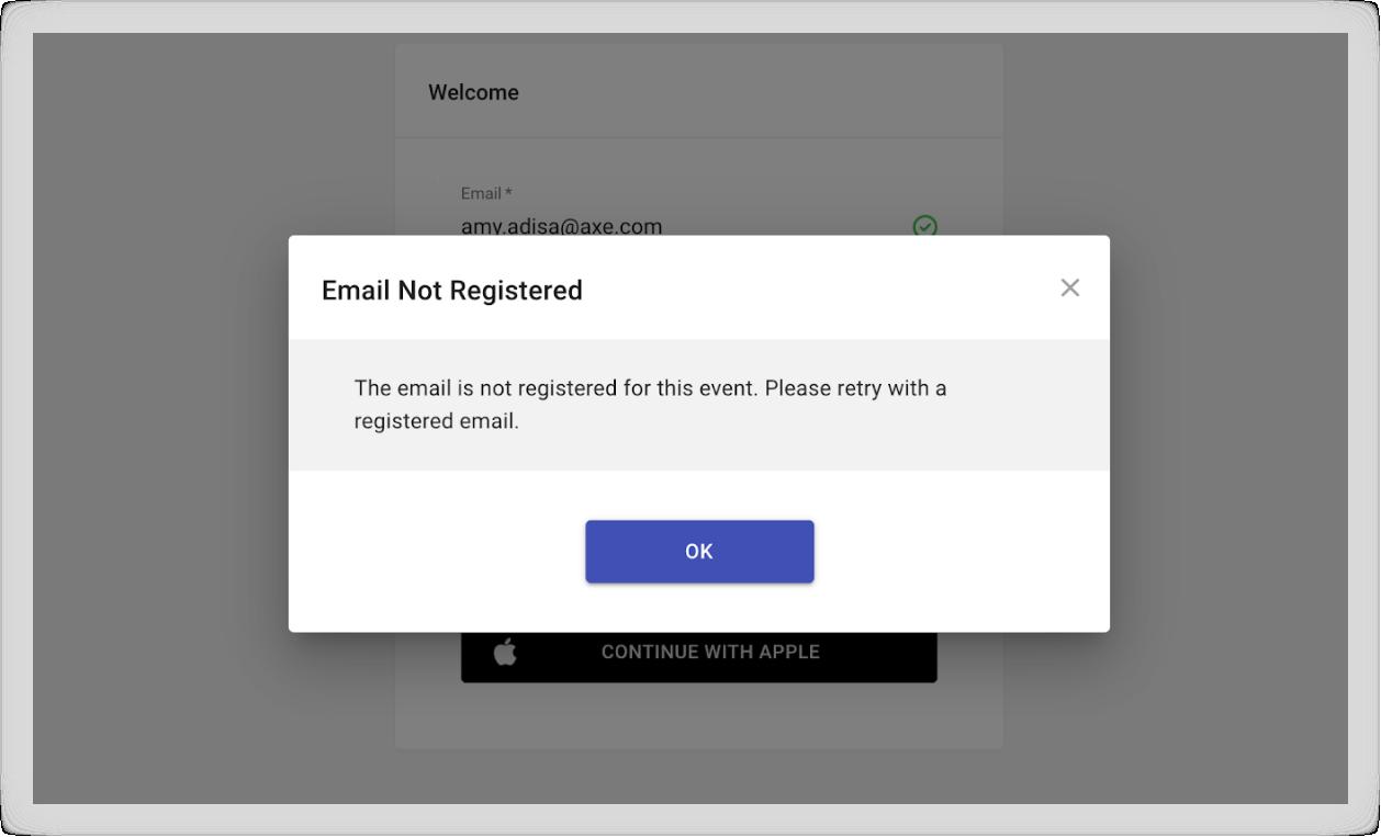 Screenshot of the error message described above.