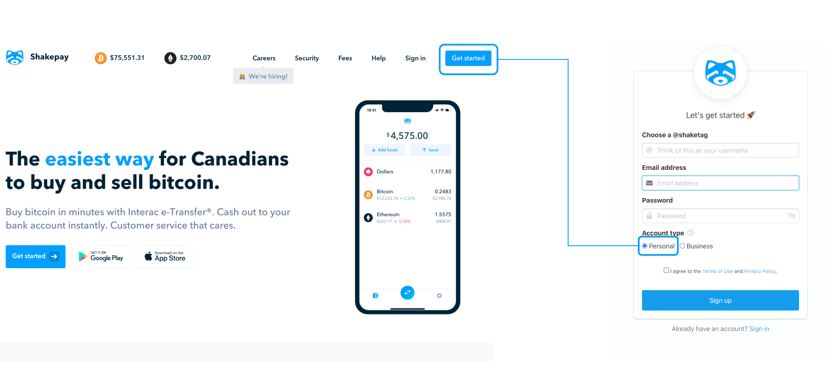 Sign up, Create an account, buy bitcoin, buy ethereum, sell bitcoin, sell ethereum, Shakepay, buy crypto, Canada, cryptocurrency