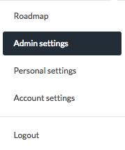 dropdown menu with admin settings highlighted