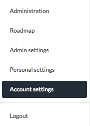 drop down menu account settings
