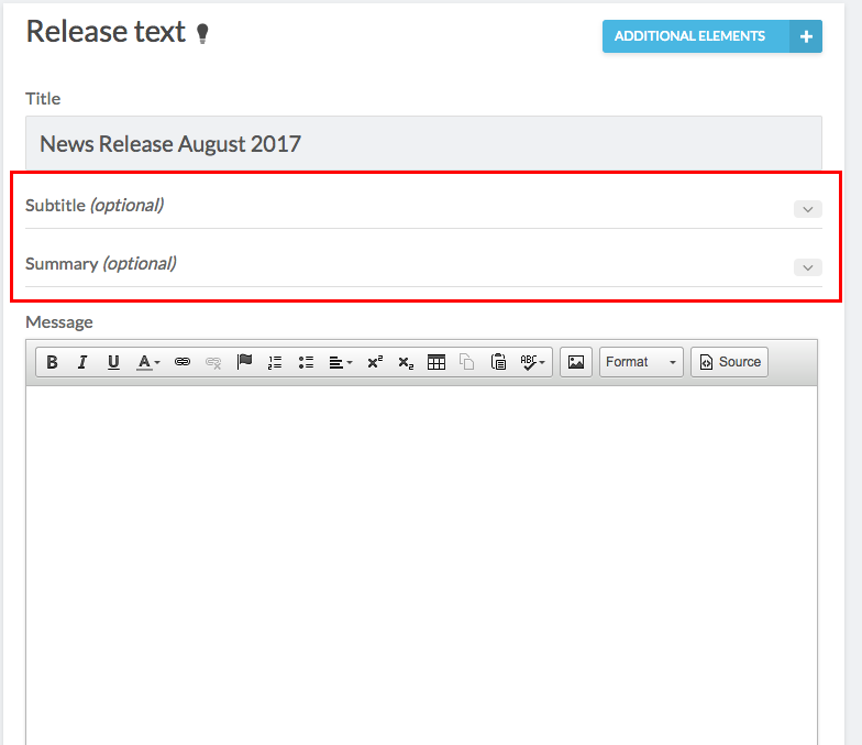 release text with subtitle and summary highlighted