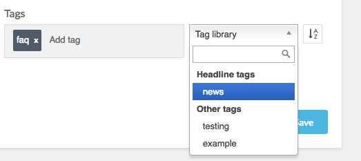 tag library dropdown menu