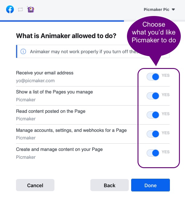 How to share your designs on a Facebook page   Picmaker