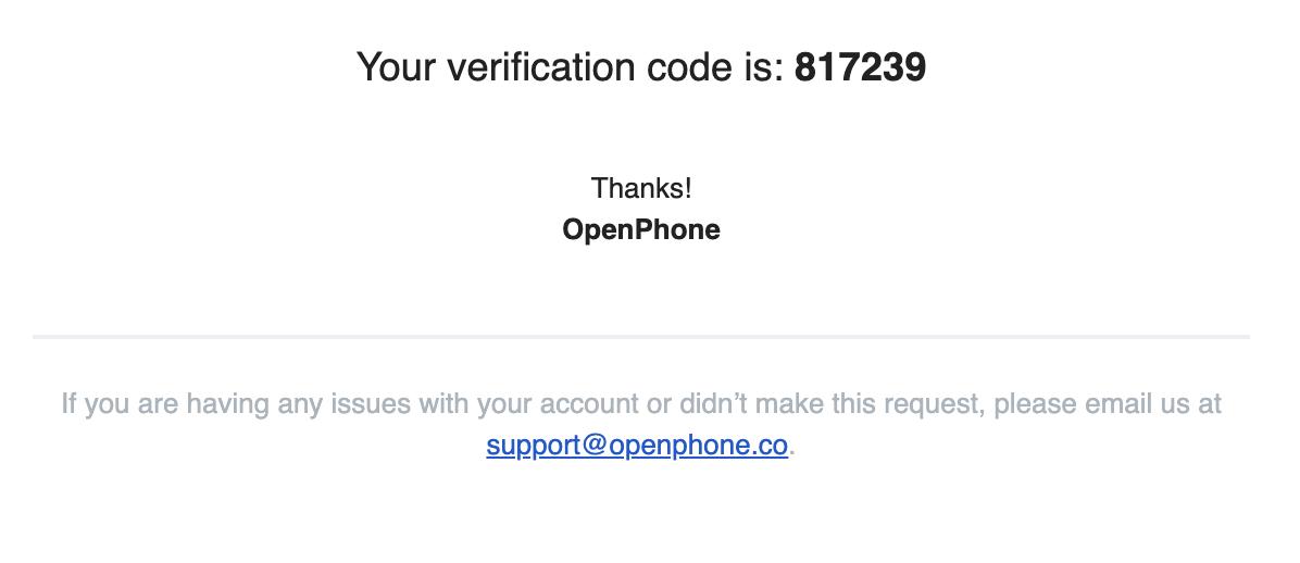 Verification code to log into OpenPhone