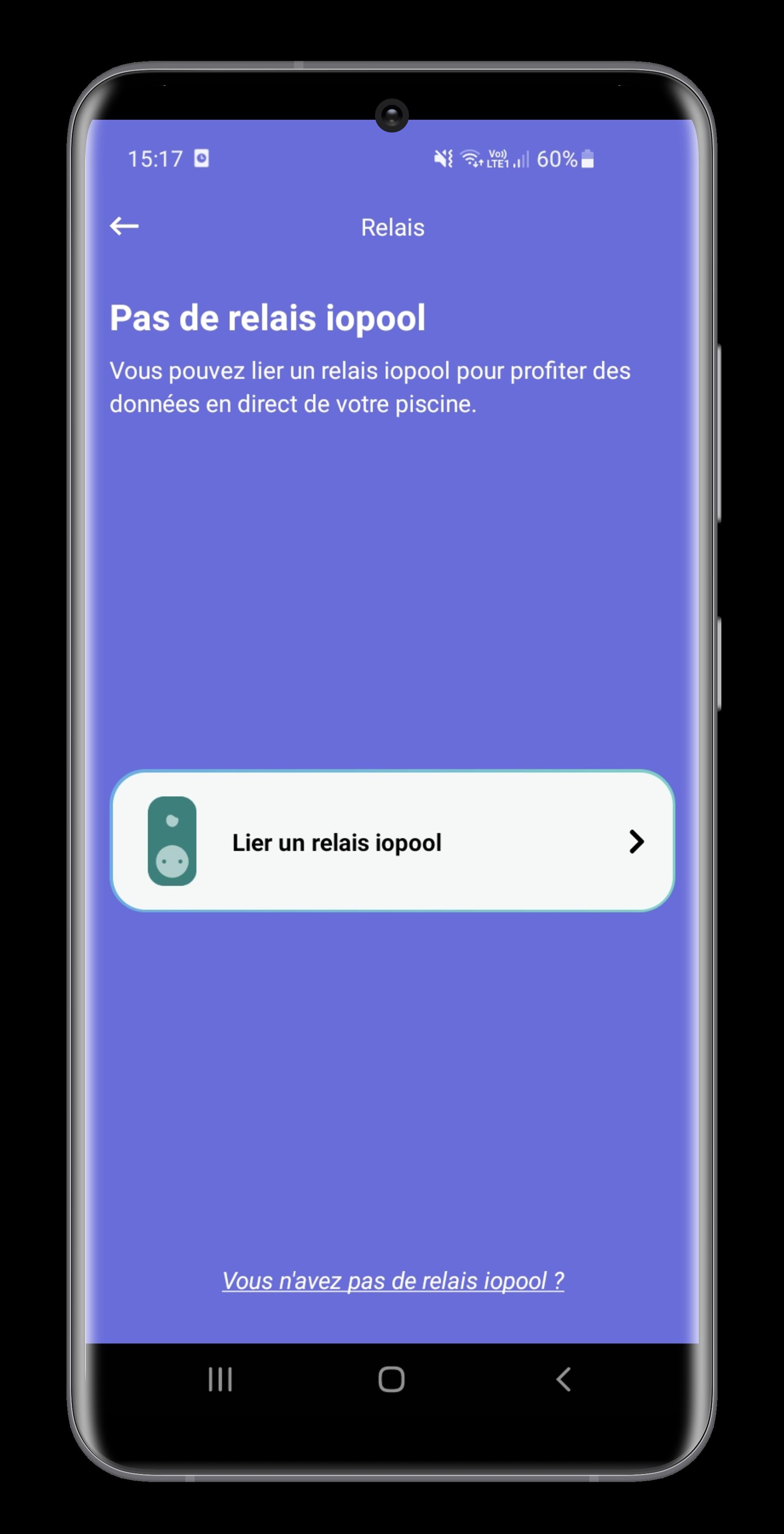 WiFi gateway configuration in iopool app screen 1