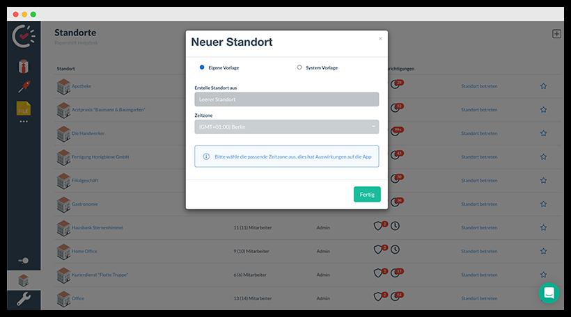 Neuen Standort erstellen, um Stempeln via App zu erlauben