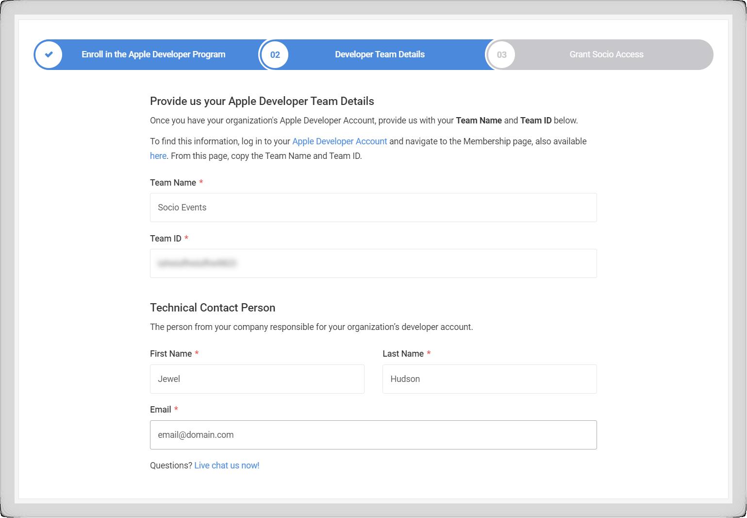 Screenshot of the Developer Team Details step.