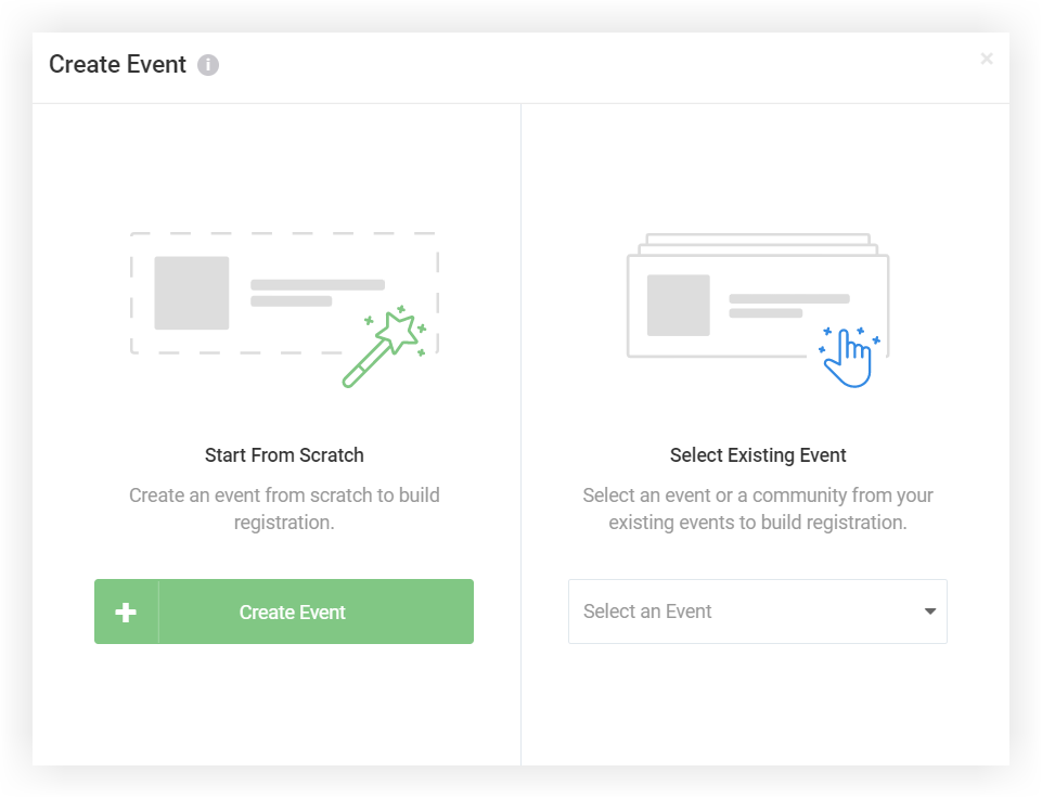 Screenshot of the Registration feature's Create Event pop-up.