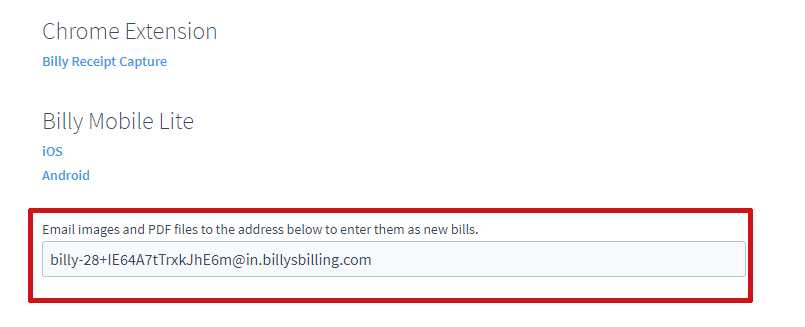 forward email receipts to billy billy u s help center