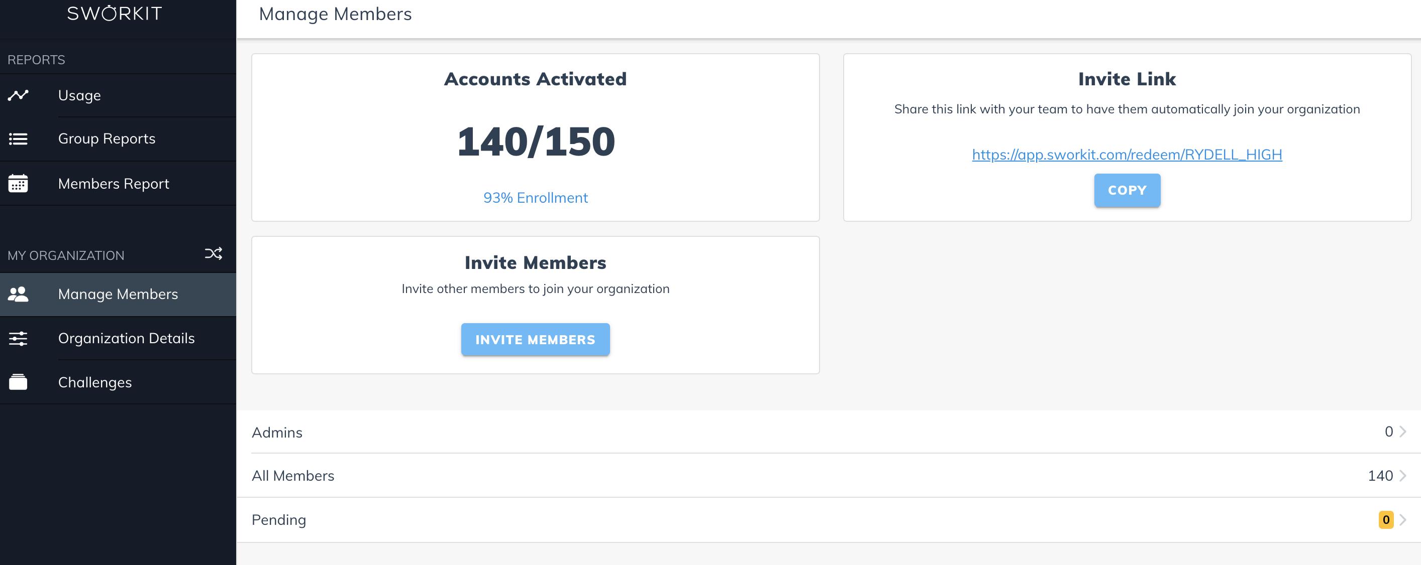 Sworkit Student Engagement Portal - Invite Link