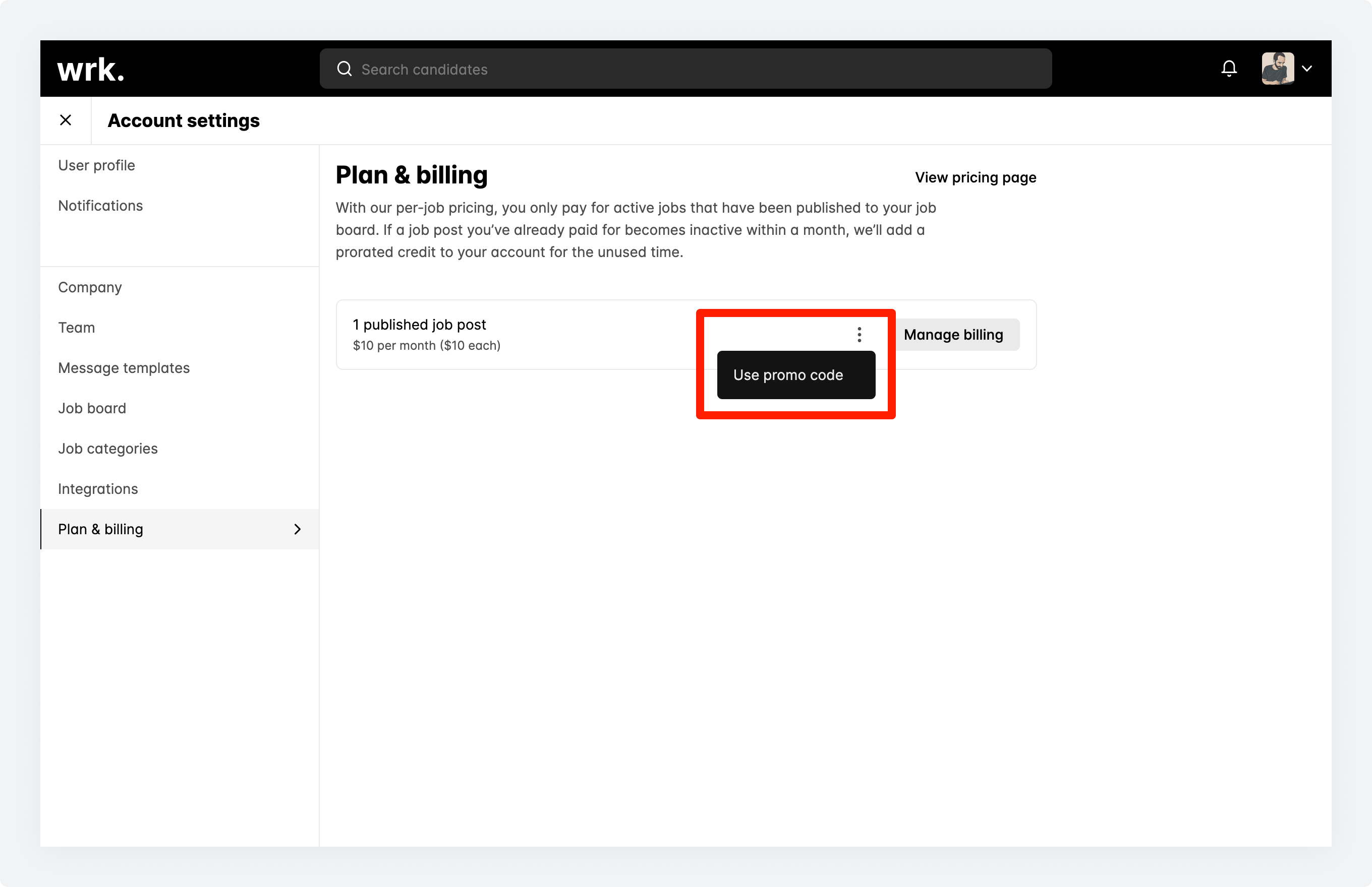 The use promo code option available on the plan & billing screen in Wrk
