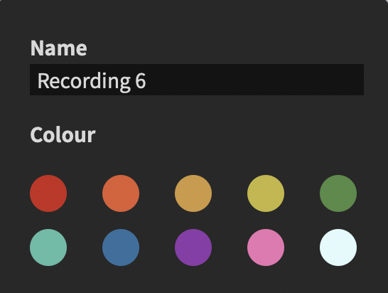 Adjust recorded audio name and colour.